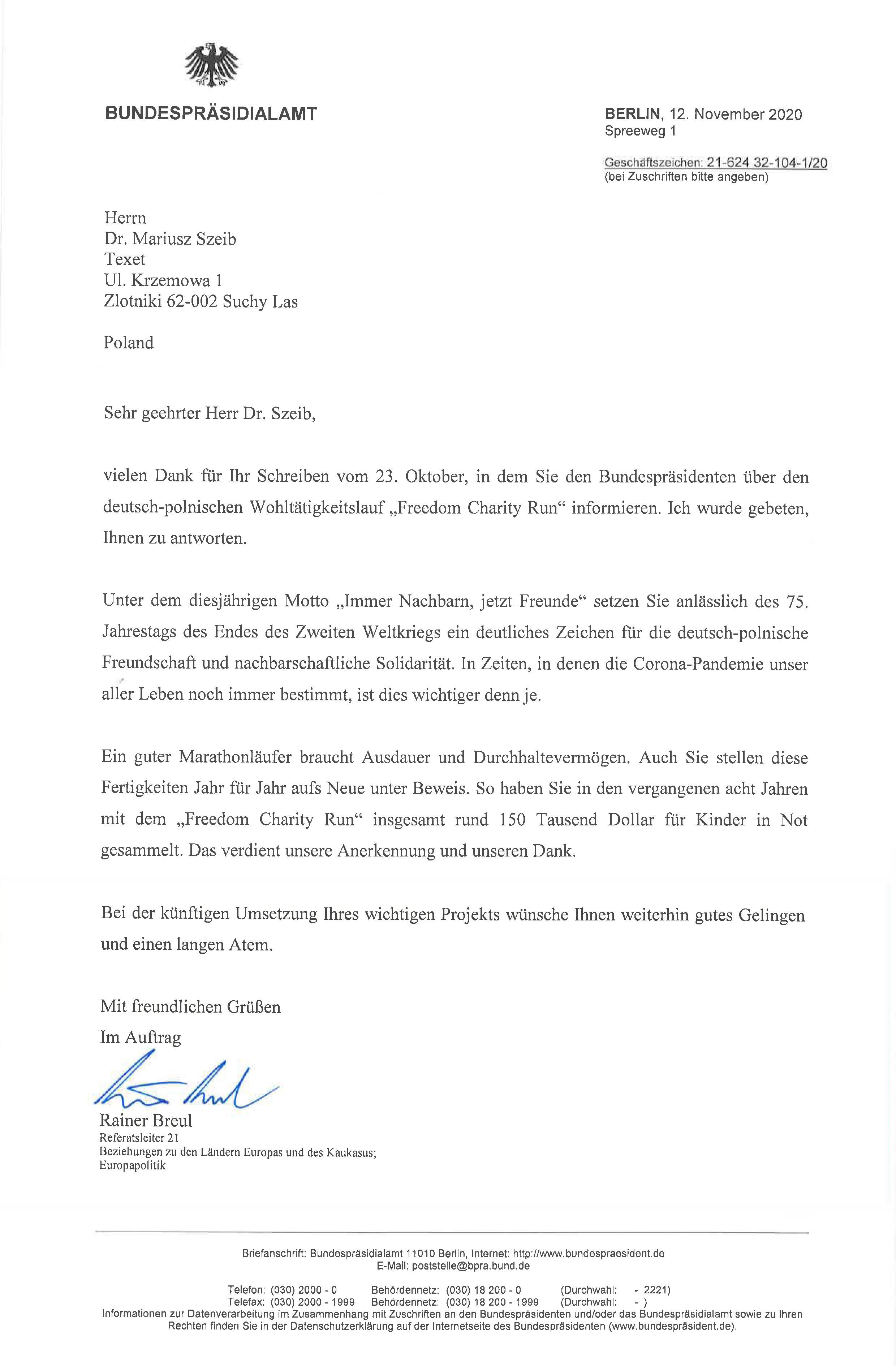 Prezydent Niemiec list_